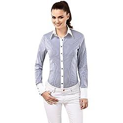 Vincenzo Boretti Camisa Mujer Blanco/Azul Marino ES 40 (DE 38)