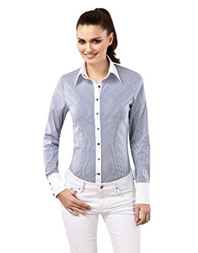 Vincenzo Boretti Damen Bluse gestreift besonders tailliert mit Stretch Langarm Hemdbluse elegant festlich Kent-Kragen auch für Business und unter Pullover weiß/dunkelblau 42