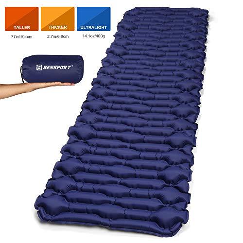 Bessport Matelas de Camping Large Gonflable Tapis de Couchage d'air Ultraléger Résistant à l'humidité 195 x 66 x 6.8cm pour Camping, Voyage, Randonnée (Blue)