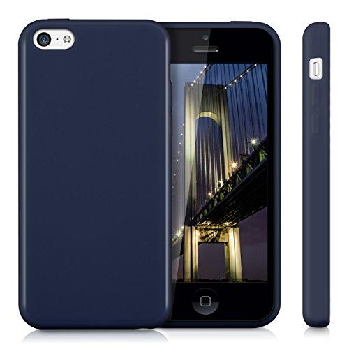 kwmobile Étui TPU silicone élégant et sobre pour Apple iPhone 5C en transparent .bleu foncé
