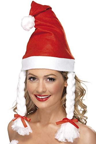 Smiffys Damen Santa Hut mit Zöpfen, One Size, 21431