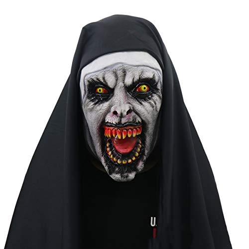 Kostüm Geist Heilig - XINLAI Terroristische Version Der Nonnen Maske Furchtsames Weibliches Geist Gesicht des Halloween-Horrors Maskierte Partydekoration