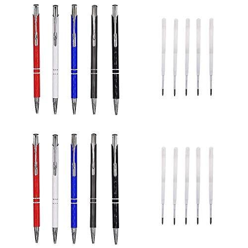 JZK Confezione 10 set penne a sfera biro blu e nere punta 1 mm penna a scatto regalo studente ragazzi ragazze bomboniera pensierino festa compleanno laurea pensiero bambini