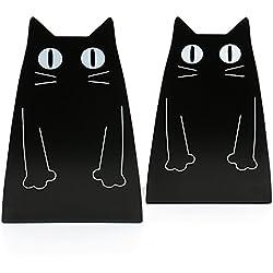 tebery gato sujetalibros de metal, color negro