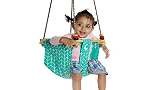 CuddlyCoo Cotton Bucket Cushioned Toddler Swing or Jhula for Baby with Play Rings and Cyan Zigzag