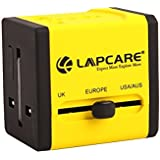 Cable World® 100% Original Lapcare Universal Travel Adapter- Charger With Dual USB With 1 Year Brand Warranty - Yellow