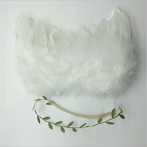 Wings Feather Kostüm - Xuniu Newborn Unisex Photography Puntelli Kostüm Kids Infant Feather Angel Wings Blätter 13cm Ali (Bianco) + Foglie (Verde)