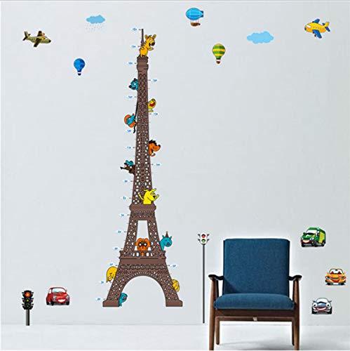 oo Paris Turm Kind höhenmessung Wandtattoo Cartoon Tiere Auto Ballon Kinder Schlafzimmer wachstumstabelle abnehmbare wandbild dekor ()