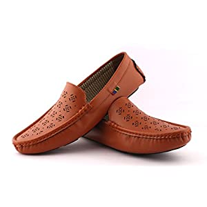 ALESTINO Loafers Shoes for Men Leather Shoes LD07Tan