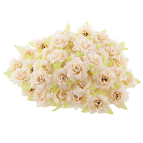 Magideal 50pz seta rosa fiore artificiale foglia testa decorazione casa matrimonio partito - albicocca