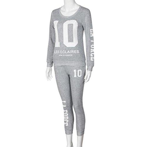 Ouneed® Femme Casual Sweat Shirt Ensemble 2 pcs Gris