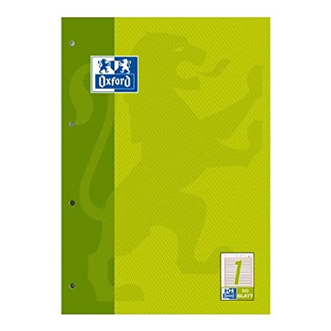 OXFORD 100050340 Arbeitsblätterblock Schule 5er Pack A4 Lineatur 1 (1. Klasse) 4-fach gelocht hellgrün Aufgabenblock Schulblock Kieserblock