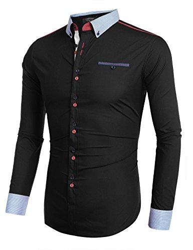 Coofandy Mens Long Sleeve Shirt Casual Patchwork Slim Fit Shirt