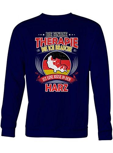 Shirt Happenz Harz Therapie Premium Sweatshirt | Reisen | Urlaub | GEBIRGE | Unisex | Sweatshirts, Farbe:Dunkelblau;Größe:XS (Premium-harz)