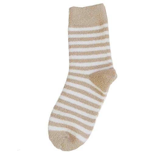 Frauen warme Socken Frauen gestreifte Kolylong® Socken und Korallen Kaschmir Socken Frau angenehm weiche Socken (Khaki) (Herren-khaki Gestreifte)