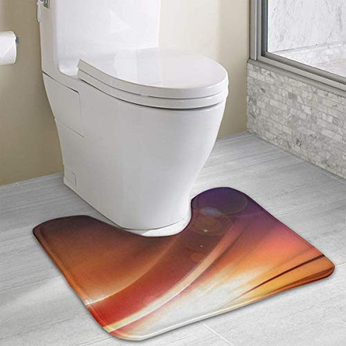 Vidmkeo Light Circle Wave Strip Contour Bath Rug, U-Shaped Polyester Toilet Floor Mat Non Slip Bathroom Shower Carpet - Kardinäle Polyester