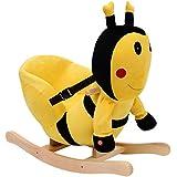 Homcom - Cavallo a Dondolo in Legno Ape per i Bambini 60 x 33 x 45cm Giallo e Nero