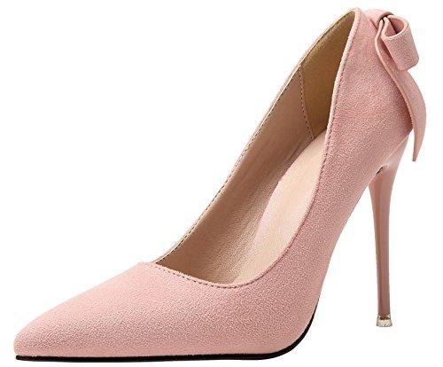 Tacones altos Mujer Ante Zapatos De BIGTREE Bowknot Fiesta Zapatos de tacón Rosa Pointed Toe Stiletto 38 EU