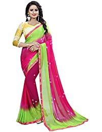 Vinayak Textiles Women's Naznin Chiffon Saree with Blouse (Pink, Green, Free Size)