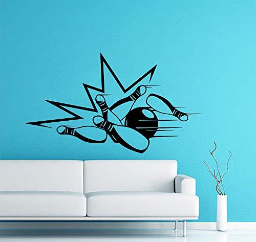 Neu Ankünfte Wandaufkleber Bowling Kegelbahn Bowlingkugel Sport Vinyl Sport Zimmer Aufkleber Wohnkultur Kunst Wand Tattoo Poster 98X56CM