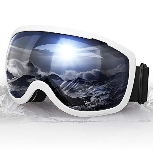 Elegear Verspiegelt Skibrille Anti-Fog Snowboard Brille Ski Goggles für Herren Damen Anti-Nebel Schneebrille UV-Schutz sphärischer Dual-Linse für Schneemobil, Skifahren, Skaten Winter Sport - Silber