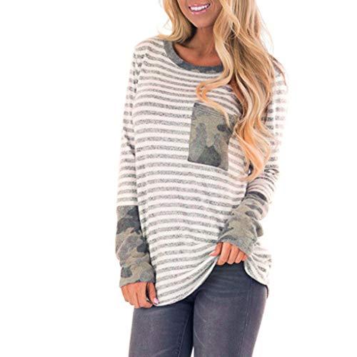 (Produp Lässige Mode Tops O-Neck Streifen Manschette Linke Tasche Camouflage Spleißen Lange Ärmel Patchwork Ärmel Tunika Komfortable Pullover Bluse T-Shirt)