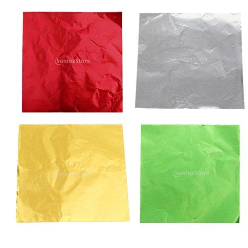 Sharplace 200/400pcs Schokoladen Süßigkeits DIY Paket Folien-Papier Aluminium Verpackungen - Farbe5 400pcs 8 x 8 cm (Papier Verpackung, Schokolade,)