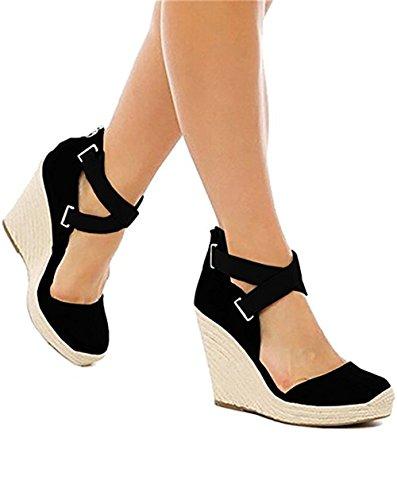 Shelers Damen Keile Schuhe Espadrilles Absätze Knöchel Gurt Fallen Sommer Sandalen (35 EU, Y-Black)