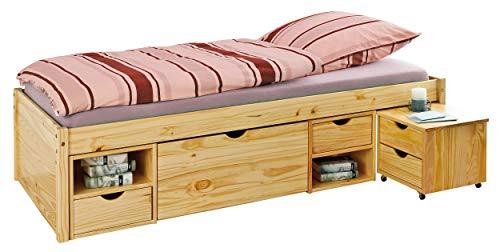 H24living Massivholzbett 90x200cm Seniorenbett extra hoch Jugendbett Funktionsbett Bett Holzbett Natur massiv inkl. Lattenrost