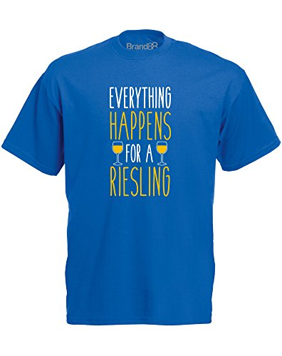 Brand88 - Everything Happens for a Riesling, Mann Gedruckt T-Shirt Königsblau/Weiß/Gelb