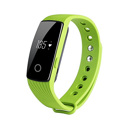 COOSA ID107 Activity Tracker , Fitness Tracker, Braccialetto Monitoraggio Battito Cardiaco e Rilevamento,Wireless Activity Wristband , Touchscreen Oled Intelligente Sport Braccialetto per Android e IOS (4Verde, ID107)