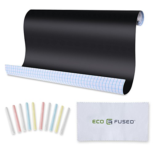 ECO-FUSED Rouleaux-tableaux noirs adhésifs repositionnables (3x1.98 x 0.45 m) avec 10 craies et 1 chiffon- Découper les formes et appliquer les sur le mur- Personnalisables et Repositionnables