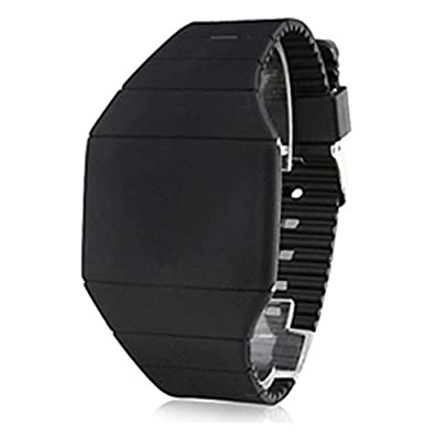 Ouku@Casual Rubber LED Light Up Digital Sport Wrist Watch Mens Watch Present Quartz Movement,Black