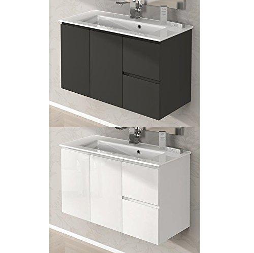 Arredo bagno da 80 cm sospeso mobile con lavandino ceramica 2 colori bianco grigio talpa i