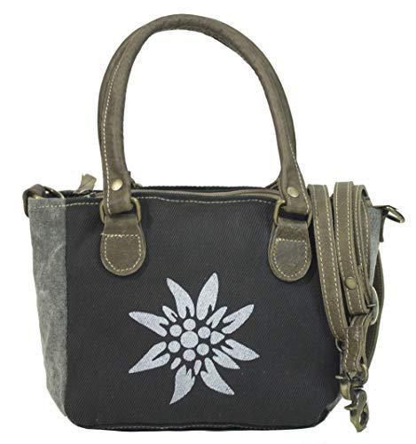 Domelo Tracht Damen Trachtentasche Dirndltasche kleine Shopper Handtasche Handgelenktasche Vintage Tasche Canvastasche