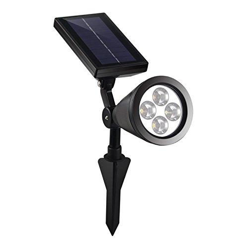 iProtect Solar Spotlight Gartenleuchte Outdoor Solarlampe mit verstellbaren Spotlight und Solarpaneelen für den Außenbereich schwarz