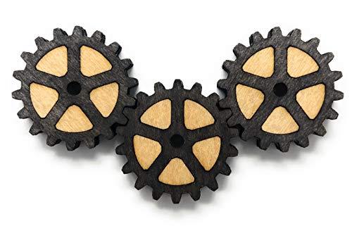 3 x Neodym Kühlschrank Magnet Zahnräder (dunkel) (Klassischen Dunklen Holz)