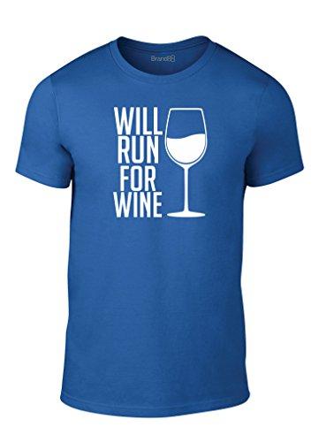 Will Run For Wine, Erwachsene Mode T-Shirt, Heather Blau/Weiß, L - 104-109cm (Heather Red Wine)