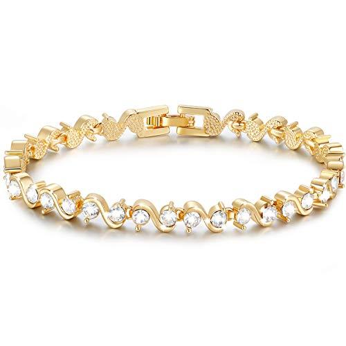 S Shape Sparkle Swarovski Element Zirkonia Armband, Armband aus 18 Karat Roségold, Tennisarmband [18 cm] Weihnachts-Muttertags-Valentines-Geschenke (Gelbgold)