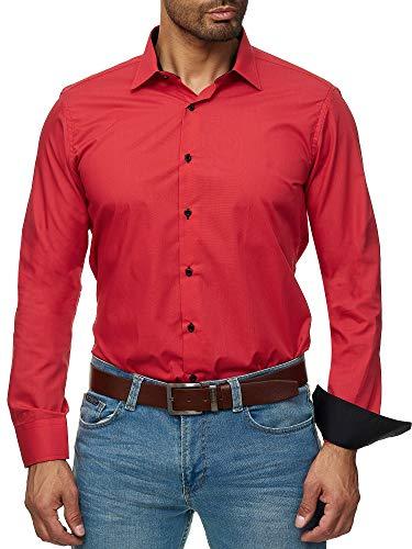 J'S FASHION Herren-Hemd - Slim Fit - Bügelleicht - Langarm-Hemd für Business Freizeit Hochzeit - Rot - XXL