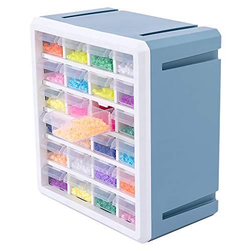 Baina Sortierbox Baby Bügelperlen Bausteine Kleinteile Aufbewahrungsbox mit 24 Schubladen, Großes Fassungsvermögen Kombinierbare und wasserdichte Scrapbooking Transparente Werkzeugschrank - Blau