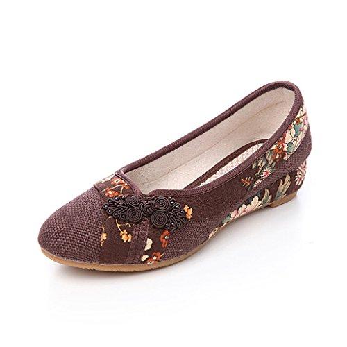 Frauen bestickt Schuhe Herbst Frühling dünnen Abschnitt mittlere Fersen nationalen Stil shose ( Farbe : Braun , größe : US:6.5\UK:5.5\EUR:38 )