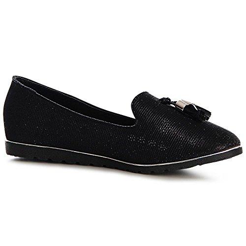 topschuhe24, Ballerine donna all black