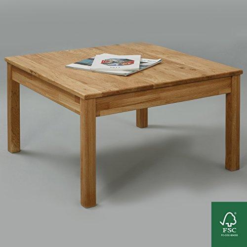 Couchtisch Massivholz Eiche FSC 100% Tomas Beistelltisch (75 x 75 x 45 cm)