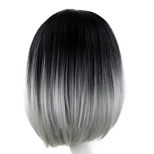 Parrucca con parrucca naturale da donna,parrucca sintetica corta e corta,linlink parrucca con testa a palloncino sfumata extension capelli veri cheratina