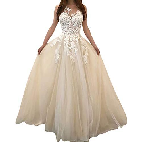 Kaister Damenmode Blumenspitze Hochzeit Elegante Chiffon Abend Party Kleid Ballkleid