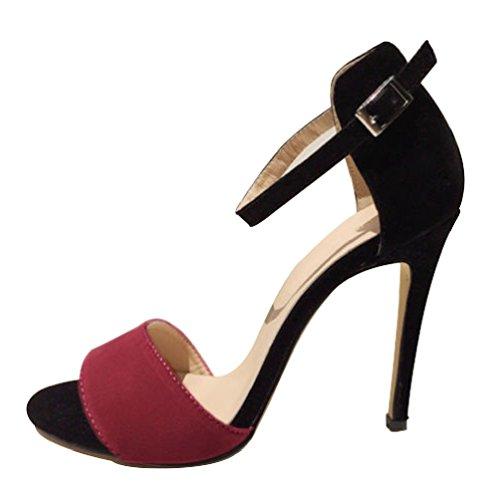 HooH Femmes Contraste Couleur Peep toe Sandales Stiletto Escarpins Violet