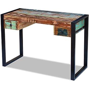 FineBuy Schreibtisch HAORA braun 130 x 60 x 76 cm Massiv