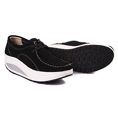 Donne Barca Esecuzione Sneakers Da Mocassini Compensato Di Scarpe Fitness Sport 1noir Eagsouni Piattaforma Scarpe Pelle Di Tennis Da In In Mocassini Tennis 85wqpn