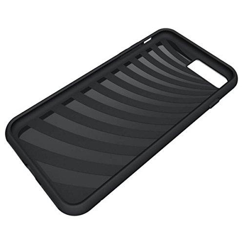 GrandEver iPhone 7 Plus Weiche Hülle Bumper & Hart PC Rückschale Handyhülle mit Kartenschlitz Halter Schutzhülle Stoßfest Hybrid Extra Grip Cover Ultra Slim Silikon Rahmen Rückseite Shockproof Soft Ca Schwarz